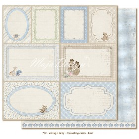 Бумага 30*30 см Journaling cards blue - Vintage Baby Maja Design