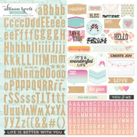 Наклейки алфавит 30*30 см Sprinkled with love Webster's Pages