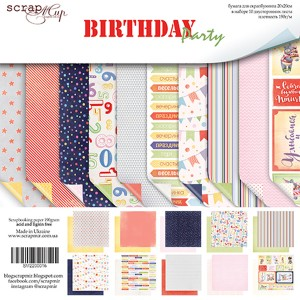 Бумага 20х20 см Birthday Party ScrapMir