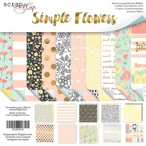 Бумага 20х20 см Simple Flowers ScrapMir